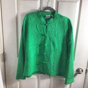 Chico's Green Mandarin Button Up Silk Jacket